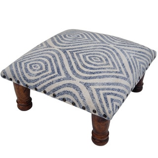 Herat Oriental Indo Handmade Printed-Cotton Upholstered Wooden Footstool