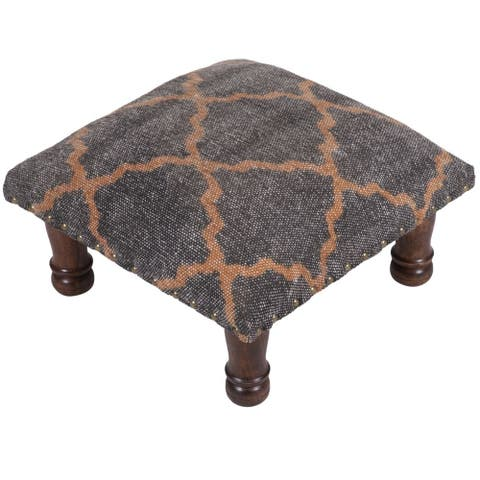 "Handmade Indo Printed Cotton Wood Ottoman Footstool (India) - 16"" x 16"" x 6"""