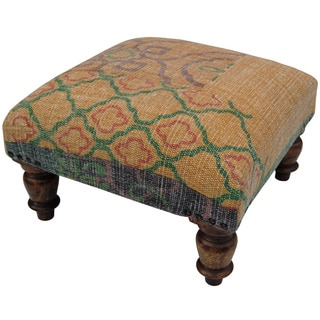 Herat Oriental Indo Handmade Printed-Cotton Upholstered Wooden Stool (India)