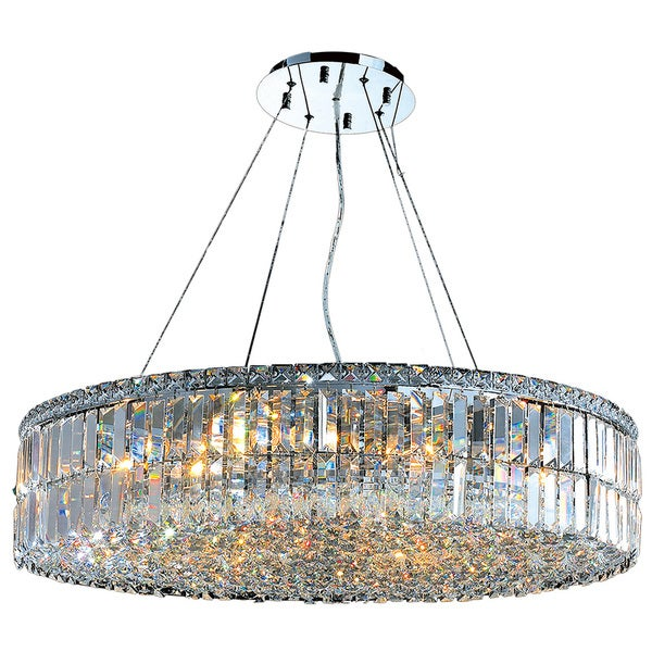 Contemporary 18 Light Chrome Finish And Faceted Clear