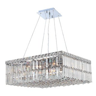 """Contemporary 12 Light Chrome Finish and Faceted Clear Crystal Medium Chandelier 20"""" Square"""