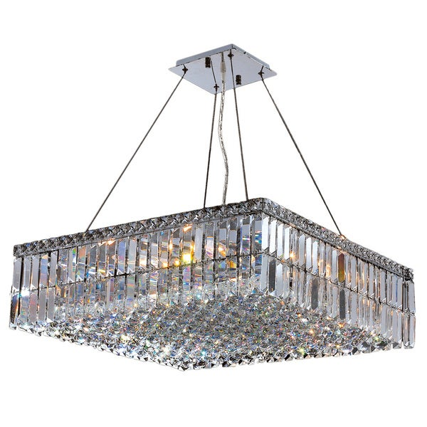Contemporary 12 Light Chrome Finish And Faceted Clear