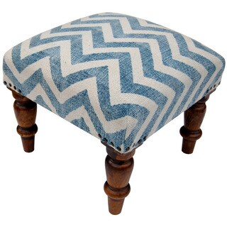 Handmade Herat Oriental Indo Printed-Cotton Upholstered Wooden Stool (India)