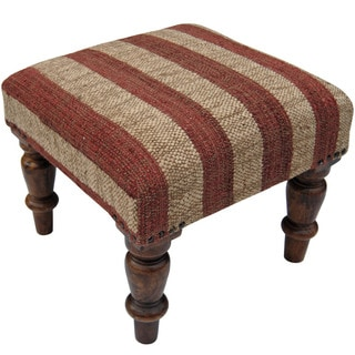 Herat Oriental Indo Handmade Wool/ Jute Upholstered Wooden Stool
