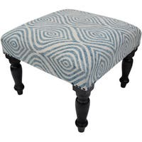 Handmade Herat Oriental Indo Printed-Cotton Upholstered Wooden Stool (India)