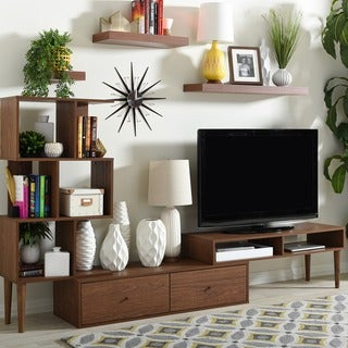 Palm Canyon Hildy Mid-century Medium Brown Wood TV Stand Set