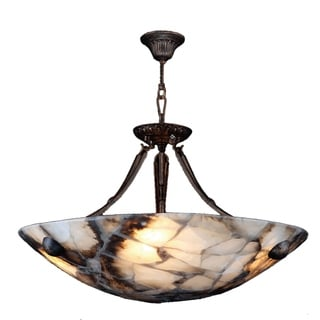Contemporary 4 Light Flemish Brass Finish Natural Quartz Bowl Pendant