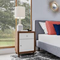 Carson Carrington Trollhattan White and Walnut Nightstand