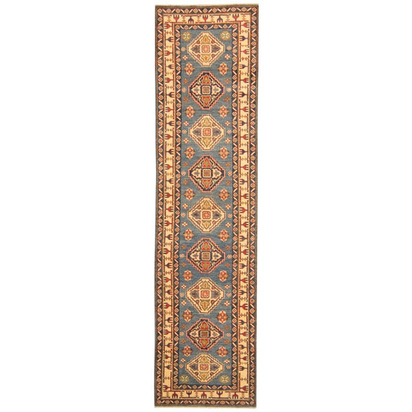 Handmade Herat Oriental Afghan Tribal Kazak Wool Runner (Afghanistan) - 2'8 x 10'6