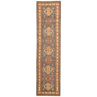 Herat Oriental Afghan Hand-knotted Tribal Kazak Wool Runner (2'8 x 10'6)