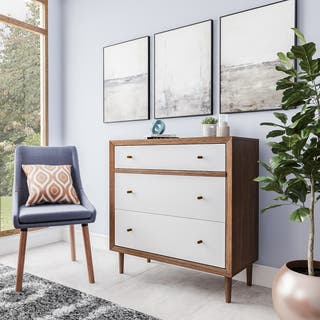 Baxton Studio Harlow Mid-century Modern Scandinavian Style White and Walnut Wood 3-drawer Chest|https://ak1.ostkcdn.com/images/products/10791730/P17839045.jpg?impolicy=medium