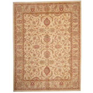 Herat Oriental Afghan Hand-knotted Vegetable Dye Oushak Ivory/ Brown Wool Rug (9' x 12')