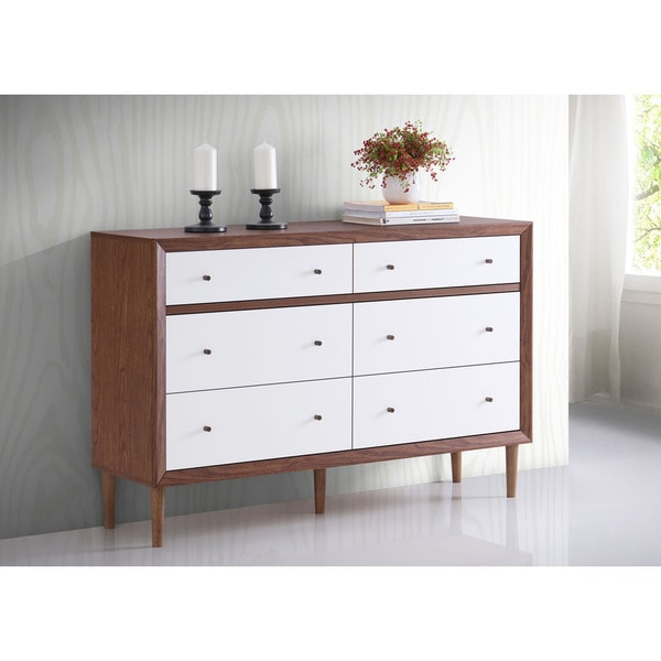 baxton studio harlow midcentury modern style white and walnut wood 6drawer storage dresser free shipping today