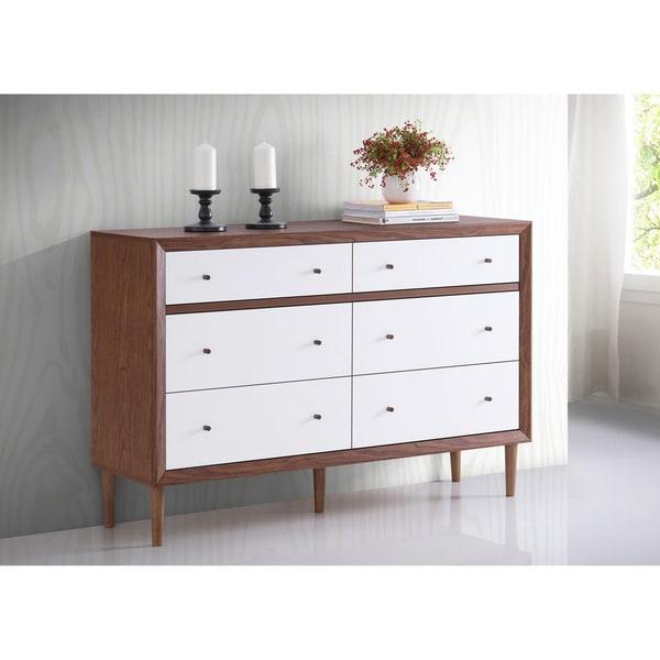 Baxton Studio Harlow Mid Century Modern Scandinavian Style White And Walnut Wood 6 Drawer