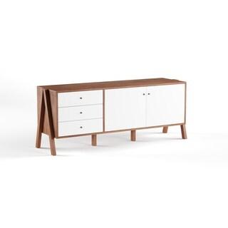 Carson Carrington Eskilstuna Mid-century Modern White Walnut Wood Sideboard Storage Cabinet