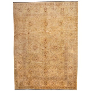 Herat Oriental Afghan Hand-knotted Vegetable Dye Oushak Ivory/ Purple Wool Rug (9' x 12')
