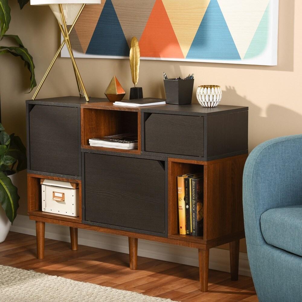 Baxton Studio  Anderson Mid-century Retro Modern Oak and Espresso Wood Sideboard Storage Cabinet (Shelf-Dark Brown)