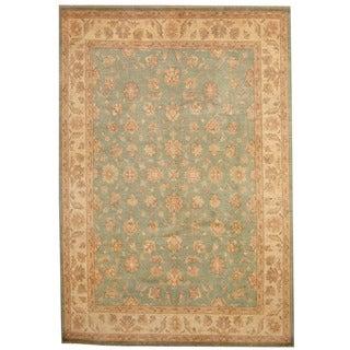 Herat Oriental Afghan Hand-knotted Vegetable Dye Oushak Aqua/ Ivory Wool Rug (8' x 11'6)