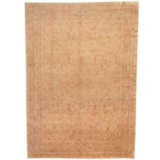 Herat Oriental Afghan Hand-knotted Vegetable Dye Oushak Wool Rug (8'7 x 12'7) - 8'7 x 12'7
