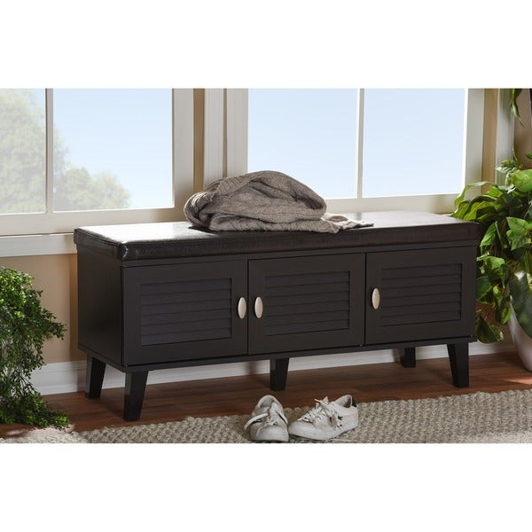 Baxton Studio Sheffield Modern Contemporary Dark Brown Wood Entryway Storage  3 Door Cushioned Bench