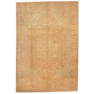 Herat Oriental Afghan Hand-knotted Vegetable Dye Oushak Light Brown/ Light Green Wool Rug (8'3 x 12'