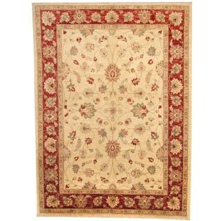 Herat Oriental Afghan Hand-knotted Vegetable Dye Oushak Wool Rug (8'2 x 11'2)