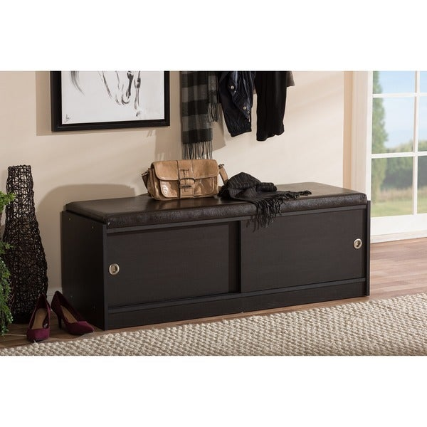 Baxton studio clevedon modern and contemporary dark brown wood entryway storage cushioned bench Entryway shoe storage bench