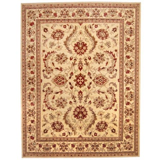 Herat Oriental Afghan Hand-knotted Vegetable Dye Oushak Wool Rug (9' x 11'8)