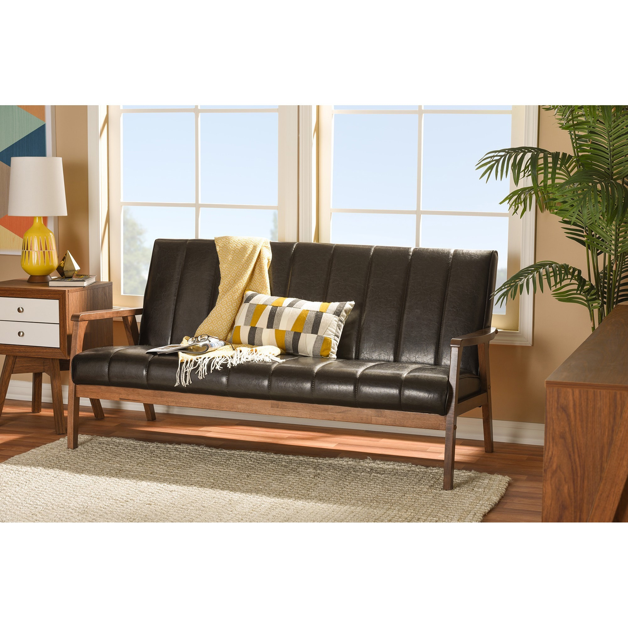 Baxton Studio Nikko Mid-century Modern Scandinavian Style Dark Brown Faux  Leather Wooden 3-Seater Sofa