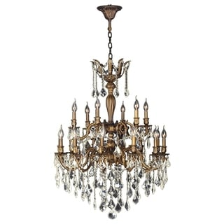 "French Imperial 18 Light Antique Bronze Finish and Golden Teak Crystal Traditional Chandelier Large Two 2 Tier 30"" x 39"""