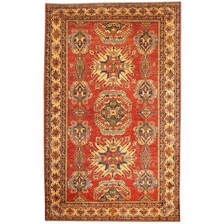 Herat Oriental Afghan Hand-knotted Tribal Kazak Red/ Ivory Wool Rug (8'1 x 12'8)