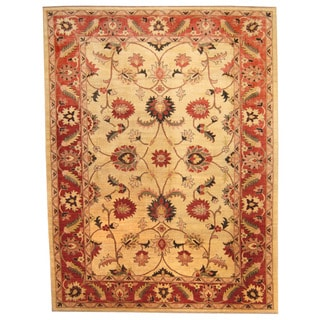 Herat Oriental Afghan Hand-knotted Vegetable Dye Oushak Ivory/ Red Wool Rug (8'10 x 11'8)