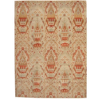 Herat Oriental Afghan Hand-knotted Vegetable Dye Ikat Light Blue/ Red Wool Rug (8'10 x 12')