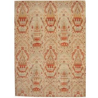 Herat Oriental Afghan Hand-knotted Vegetable Dye Ikat Wool Rug - 8'10 x 12'