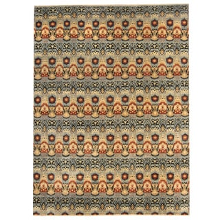Herat Oriental Afghan Hand-knotted Vegetable Dye Ikat Blue/ Rust Wool Rug (9' x 12'1)