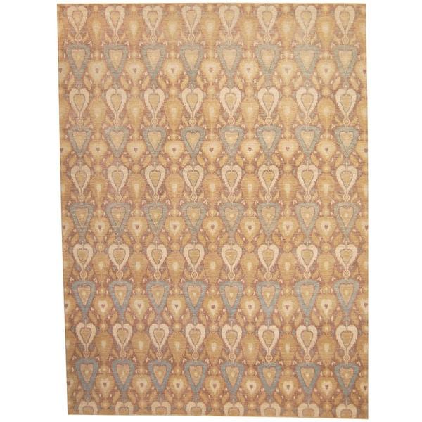 Herat Oriental Afghan Hand-knotted Vegetable Dye Ikat Wool Rug (8'10 x 11'10)