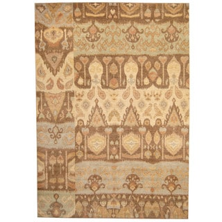Herat Oriental Afghan Hand-knotted Vegetable Dye Ikat Wool Rug (9' x 12'1)