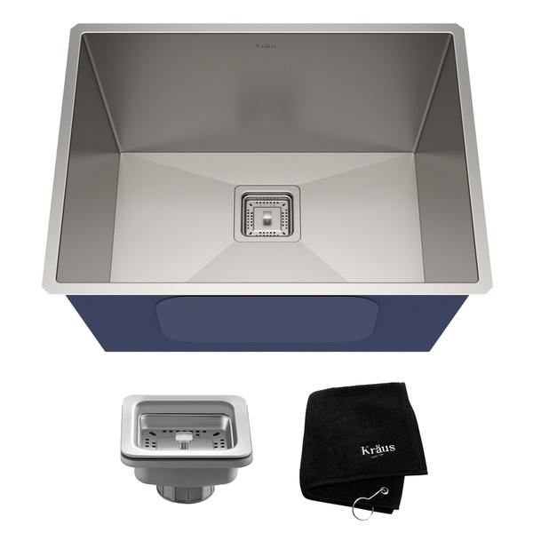 Kraus KHU24L Pax Zero-Radius Undermount 24-in 18G 1-Bowl Satin Stainless Steel Laundry Utility Sink, Strainer, Towel