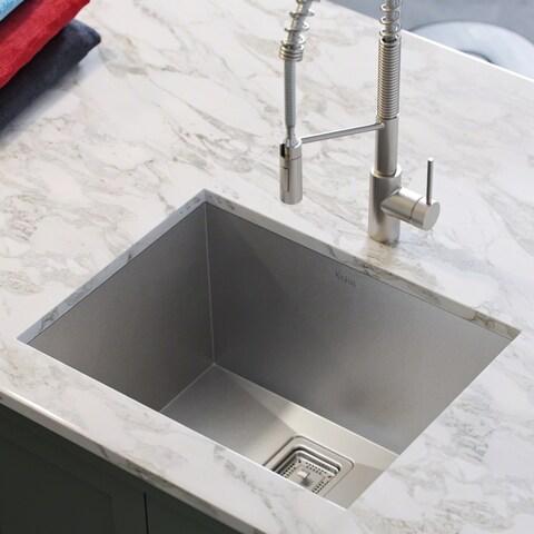 Kraus KHU24L Pax Zero-Radius Undermount 24-inch 18 gauge Single Bowl Satin Stainless Steel Laundry Utility Sink