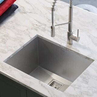 Kraus KHU24L Pax Zero-Radius Undermount 24-in 18G 1-Bowl Satin Stainless Steel Laundry Utility Sink, Strainer, Towel