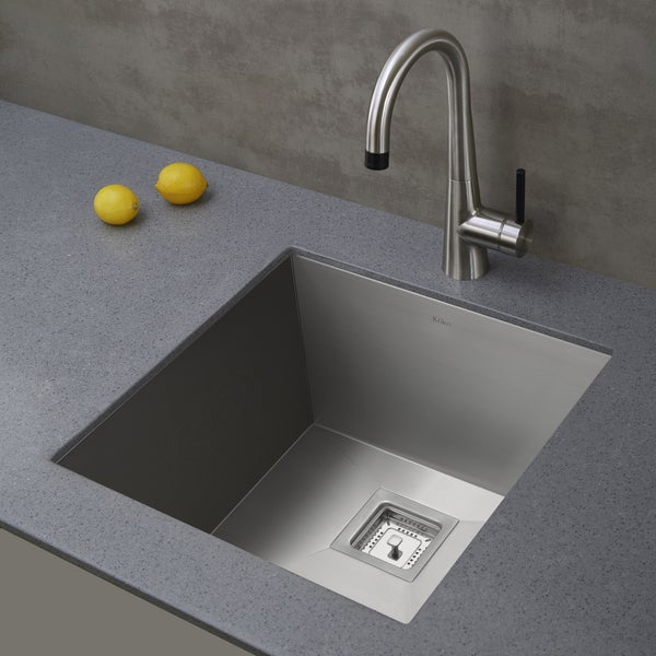KRAUS Pax Zero Radius 18 1/2 Inch Handmade Undermount Single Bowl 18 Gauge  Stainless Steel Bar Sink With NoiseDefend   Free Shipping Today    Overstock.com   ...