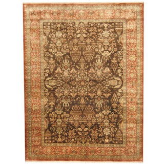 Herat Oriental Indo Hand-knotted Vegetable Dye Sarouk Wool Rug (8'10 x 11'10)