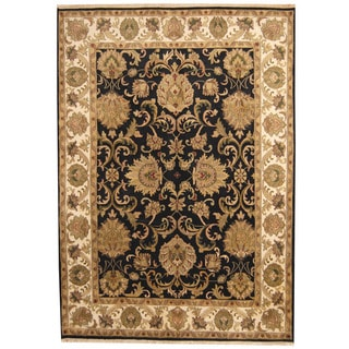 Herat Oriental Indo Hand-knotted Mahal Black/ Ivory Wool Rug (8'7 x 12'2)