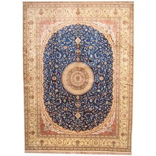Herat Oriental Indo Hand-knotted Kashmiri Silk Qum Rug (9' x 12'1)
