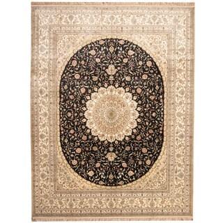 Herat Oriental Indo Hand-knotted Kashmiri Silk Qum Rug (9' x 12')