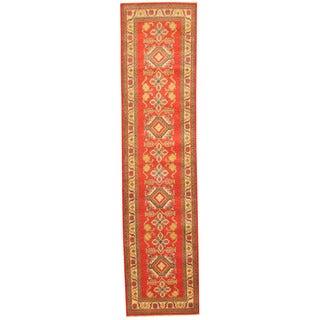 Herat Oriental Afghan Hand-knotted Tribal Kazak Red/ Ivory Wool Rug (2'8 x 11')