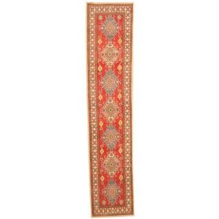 Herat Oriental Afghan Hand-knotted Tribal Kazak Red/ Ivory Wool Rug (2'7 x 11'7)