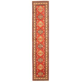 Herat Oriental Afghan Hand-knotted Tribal Kazak Red/ Ivory Wool Rug (2'8 x 12'10)