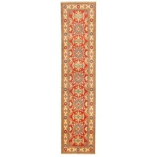 Herat Oriental Afghan Hand-knotted Tribal Kazak Red/ Ivory Wool Rug (2'9 x 12')