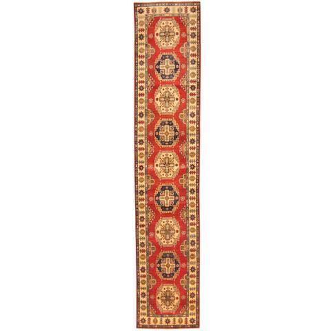 Handmade One-of-a-Kind Kazak Wool Runner (Afghanistan) - 2'8 x 13'6